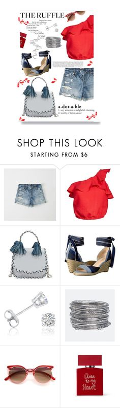 """Ruffle My Feathers"" by eudoxiee ❤ liked on Polyvore featuring Abercrombie & Fitch, Astr, Rebecca Minkoff, Nine West, Amanda Rose Collection, Barneys New York, Avenue, Bella Freud, denim and polyvoreeditorial"