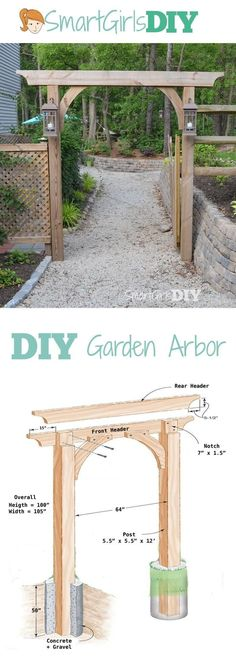You can build this DIY garden arbor thanks to plans from The Family Handyman. It's big, but not difficult, only 6 pieces of wood total. Build it yourself!