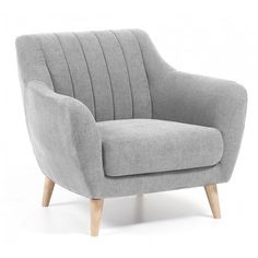 Fauteuil Obo gris clair Scandinavian style armchair upholstered in Miss model fabric. Bedroom Chair, Sofa Chair, Gray Armchair, Ikea Bedroom, Grey Chair, Bedroom Furniture, Sofa Design, Furniture Design, Danish Furniture