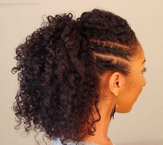 curly ponytail with two side twists