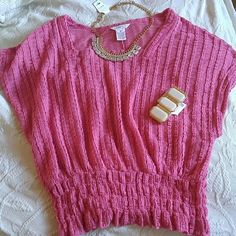 Cute Barbie Pink top Excellent condition. Delicious textured top. Throw a cami underneath and you're ready to go. Elastic waistband. Candie's Tops
