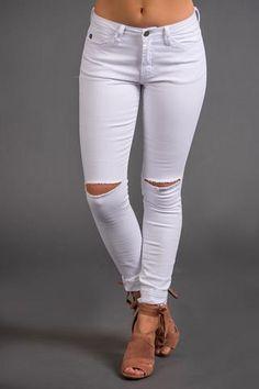 Fifth Avenue Lightly Distressed Skinny KanCan Jeans (White) - NanaMacs.com - 1