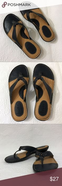 """BORN CONCEPT • Leather Thong Flip Flops Sandals B•O•C Born Concept leather flip flops in Navy blue. Excellent used condition. """"Like New"""". Comfortable with 1/2 """" heel. Born Shoes Sandals"""