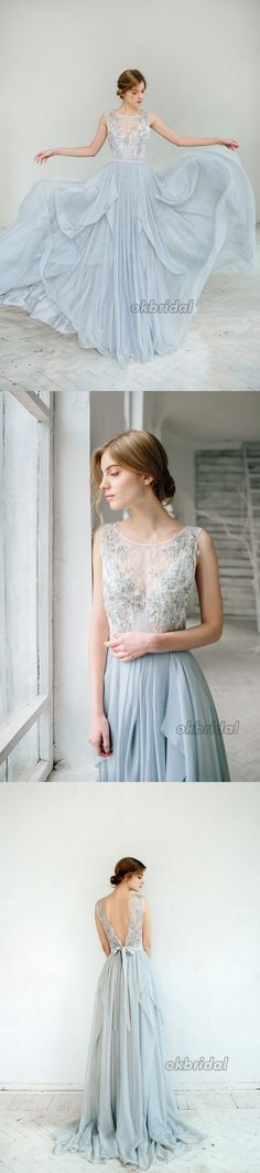 Chiffon Wedding Dress, Applique Wedding Dress, Sleeveless Bridal Dress, Tulle Wedding Dress, V-Back Wedding Dress, LB0857#okbridal#wedding