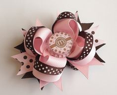 Dot Pink & Brown Initial Bottle Cap Hair Bow by AllyBugsBowtique on Etsy, $7.50