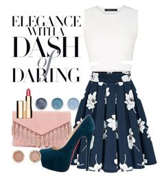 """""""Elegance with a dash of daring"""" by florcampodonico ❤ liked on Polyvore featuring BCBGMAXAZRIA, Terre Mère, LULUS, Christian Louboutin, Michael Kors and Clarins"""