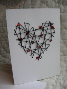 hand embroidered black heart with red sequins by TheGirlintheLane, $5.50