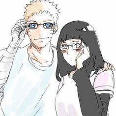 Naruto and Hinata with glasses