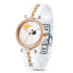 Time100 Womens Fashion Luxury Jewelry Diamond Carving Ceramic Strap 3D Pattern Dial Quartz Watches  W50352L04A ** Want additional info? Click on the image. (Note:Amazon affiliate link)