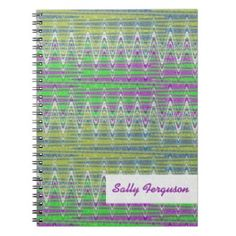 Colorful pastel zigzag pattern notebook Personalized #zazzle #journals #notebook #gift