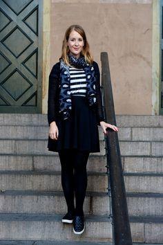 Closet favorites: Stripes, animal print, skirt, slip-ons and red nails