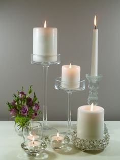 Glass candle holders; winter sparkle; white candles