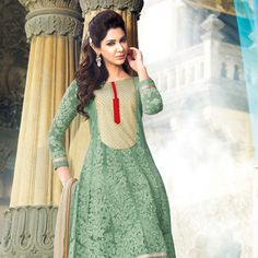 Light Green Faux Georgette Anarkali Churidar Kameez