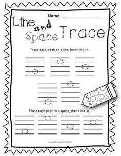 50% off today only!  LINES AND SPACES WORKSHEET PACK - TeachersPayTeachers.com