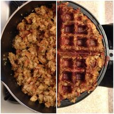 Stuffing waffles. Or just use your regular dressing recipe and put it in a waffle maker. Great idea for Thanksgiving leftovers!