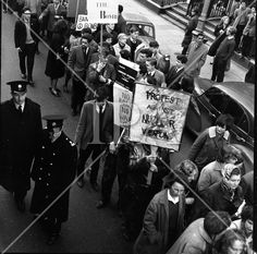 1960 - 'Ban the Bomb' Protest March History Photos, Photo Archive, More Photos, Dublin, Ireland, Irish, March, Fine Art, Film