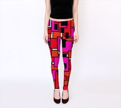 Pink Red and Black circuit look leggings, for the space age geeky diva in you  -The History of the Leggings:  After many months of testing for