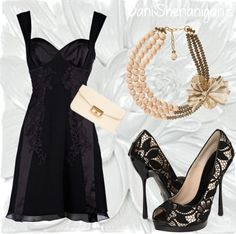 a little black dress with cream colored accessories. The clutch would be great for carrying the essentials for the night. The necklace adds a bit of fun to this look, and the shoes keep it classy. You could even pair this with small pearl earrings.