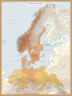 Germanic Peoples ca. 750 BC - AD 50 by Cyowari on DeviantArt - Fantasy Map, Alternate History, Old Maps, Historical Maps, Iron Age, Flags Of The World, Inspirational Wall Art, Science And Nature, Medieval