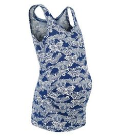 Maternity Blue Butterfly Print Vest
