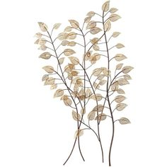 """Copper Leaves on Branches 34 1/2"""" High Metal Tree Wall Art ($70) ❤ liked on Polyvore"""