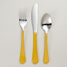 One of my favorite discoveries at WorldMarket.com: Yellow Enamel Flatware. I want!