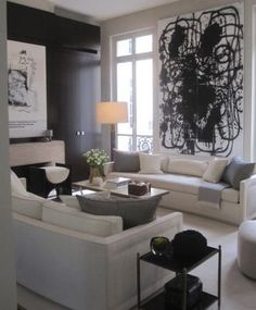 Neutral living room with a black accent wall and accessories and abstract art Living Room Inspiration, Interior Inspiration, Living Room Interior, Living Room Decor, Living Room Designs, Living Spaces, Living Rooms, White Kitchen Decor, Contemporary Interior Design