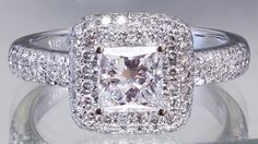 EGL US H-VS2 18k white gold rincess cut diamond engagement ring halo deco 1.70ct by asparklingworld on Etsy