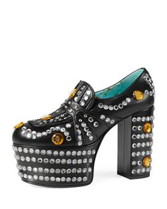 Amilna+Crystal+Platform+Loafer,+Black+by+Gucci+at+Neiman+Marcus.