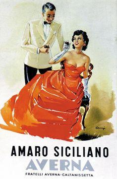 Vintage Italian Posters ~ #illustrator #Italian #vintage #posters ~ Amaro Siciliano Averna