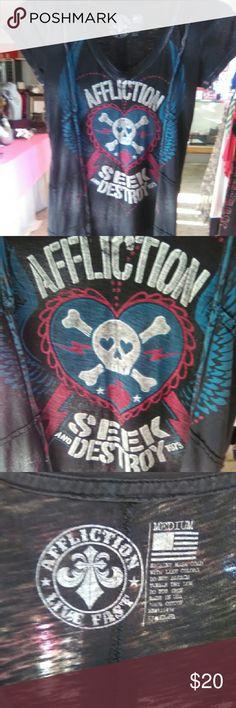 Affliction. Live Fast Seek And Destroy Size Medium Affliction Size Medium. Great Condition. Beautifully Designed Shirt. Affliction Tops Tees - Short Sleeve