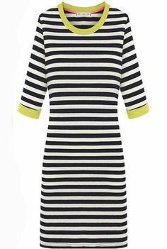 Yellow Trims Contrast Black White Stripes Half Sleeve Dress