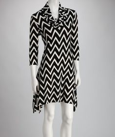 Take a look at this Black Cowl Neck Sidetail Dress by Ice Silk on #zulily today! $25 !!