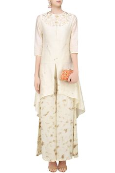 Off white gota patti high low kurta with tye and dye palazzo pants available only at Pernia's Pop Up Shop.