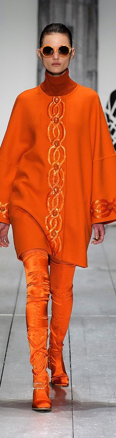Laura Biagiotti Collections Fall Winter collection no zippers JUST… High Fashion, Winter Fashion, Fashion Art, Womens Fashion, Jaune Orange, Orange You Glad, Orange Fashion, Laura Biagiotti, Orange Crush