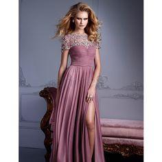 Birne Chiffon A Linie seite geschlitztes elegantes & luxuriöses... ($130) via Polyvore