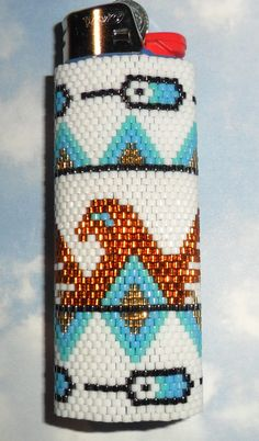 Pheonix Beaded Lighter Cover by SoaringHawkTraders on Etsy
