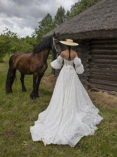 Boho wedding dress RANELL with long train Sweet Wedding Dresses, Western Wedding Dresses, V Neck Wedding Dress, Long Sleeve Wedding, Perfect Wedding Dress, Boho Wedding Dress, Bridal Dresses, Wedding Gowns, Mermaid Wedding
