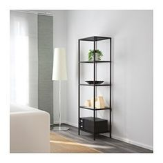 IKEA - VITTSJÖ, Shelving unit, black-brown/glass, I want to spray paint it gold and add marble contact paper to the shelves