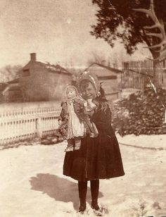 1890s Girl with Bisque Doll in Snow
