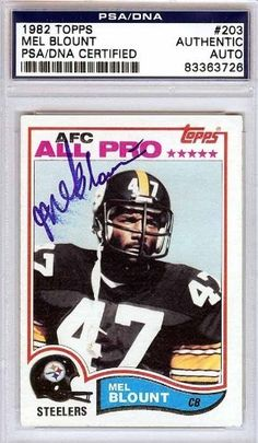 Mel Blount Autographed/Hand Signed 1982 Topps Card PSA/DNA #83363726 by Hall of Fame Memorabilia. $56.95. This is a 1982 Topps Card that has been hand signed by Mel Blount. It has been authenticated by PSA/DNA and comes encapsulated in their tamper-proof holder.