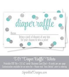 Diaper Raffle Baby Shower Tickets Audrey Blue Gray Silver Glitter Printable Raffle - Shower Decorations Cute Baby Shower Game Ideas - SprinkledDesigns.com