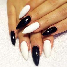 Monochrome Stiletto Nails