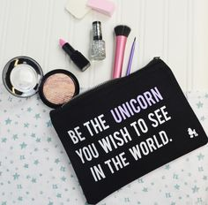 "Be The Unicorn Make Up Bag. Inspird by the motivational quite ""Be The Change"" this magical little cosmetics bag is perfect for any dreamer....!! Can also be used for make up, cosmetics and hair products xx"