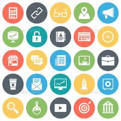 Online Business Round Vector Icons — JPG Image #mobile #web • Available here → https://graphicriver.net/item/online-business-round-vector-icons/9346130?ref=pxcr