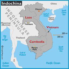 Mapa da Indochina: Laos, Vietnã, Cambodja. Às vezes, inclui-se também Myanmar e Tailândia.
