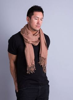 Men's Classic City Stripe Scarf (Brown): Amazon.co.uk: Clothing