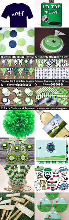Green & Navy Blue Golf Party for Father's Day. Everything you'll need to decorate a Golf Theme Party! Pub Golf, 60th Birthday Party, Birthday Ideas, Golf Theme, Golf Party, Retirement Parties, Father Sday, Party Printables, Party Planning