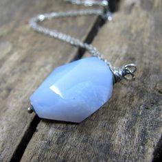 Chalcedony Necklace Blue Pendant Necklace Blue Stone