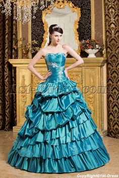 Teal Blue Pretty Quinceanera Gown with Puffy:1st-dress.com